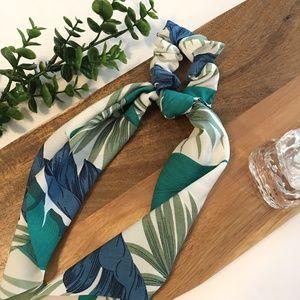Boho Floral Satin Hair Scrunchie Scarf Bow